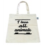 "Tote Bag ""I love all animals"""